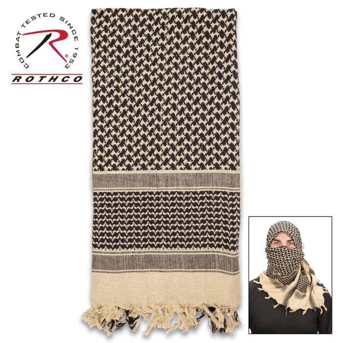 Rotcho Desert Shemagh - Tactical Desert Scarf, 100 Percent Woven Cotton, Breathable, Heat And Cold Protection
