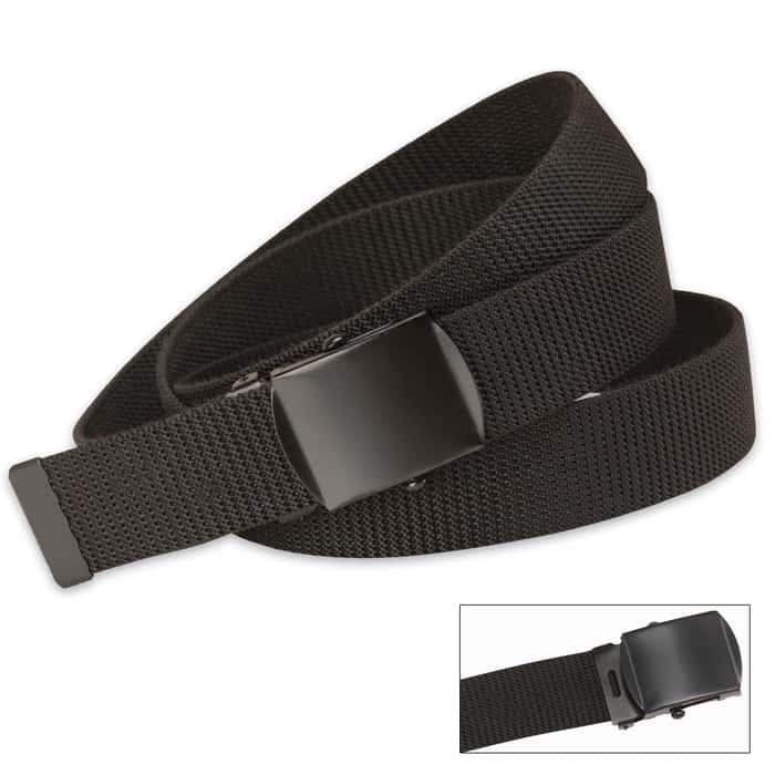 Black Nylon Web Belt With Black Buckle