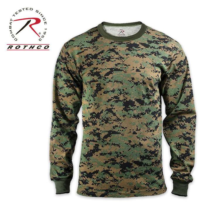 Rothco Long Sleeve T Shirt Woodland Digital Camo Pattern