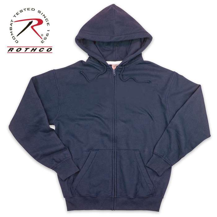 Thermal Lined Zipper Sweatshirt Navy