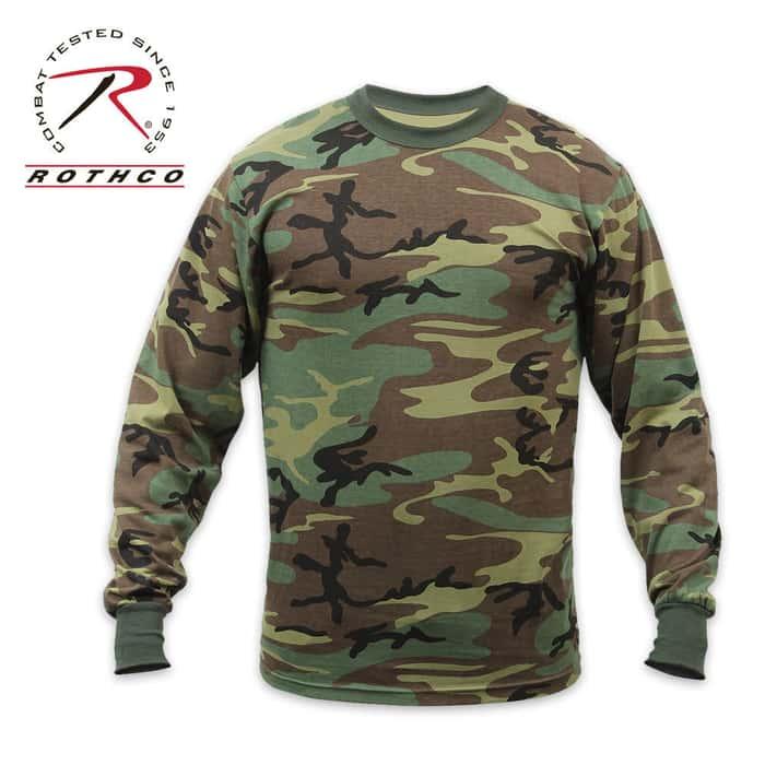 Rothco Long Sleeve T Shirt Woodland Camo Pattern