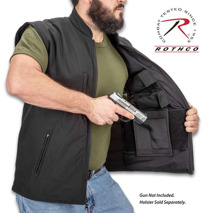 Black Deluxe Safari Outback Concealed Carry Vest - Waterproof Polyester Outer, Fleece Lining, Four Outside Pockets, Four Inside Pockets