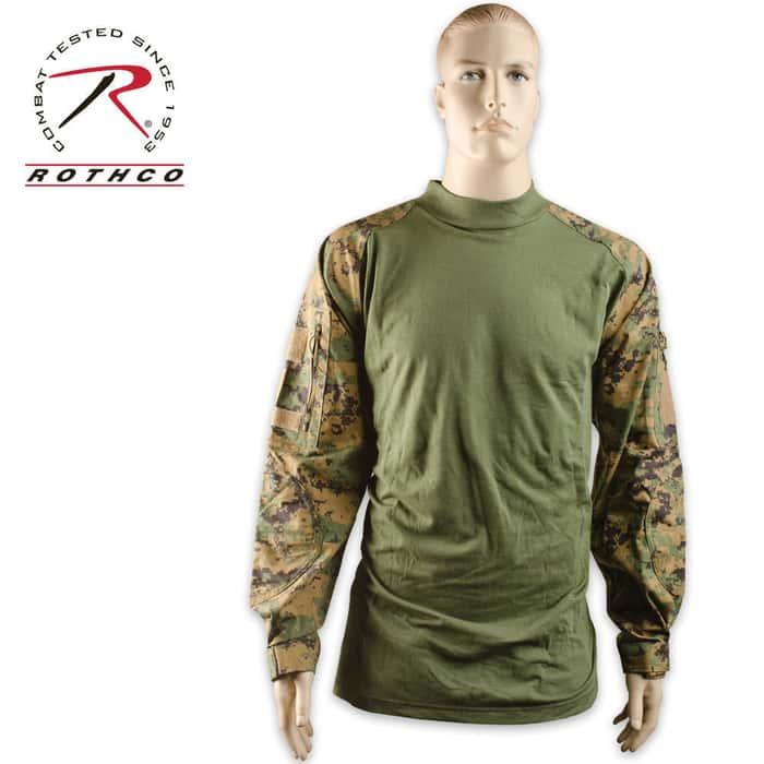 Combat Long Sleeve Shirt Woodland Digital