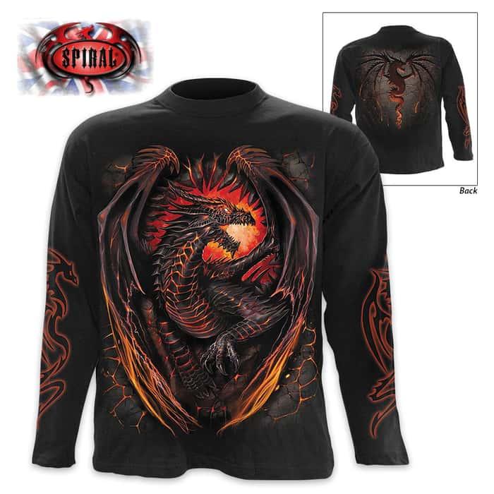 Black Dragon Furnace Wrap - Allover T-Shirt Long-Sleeve