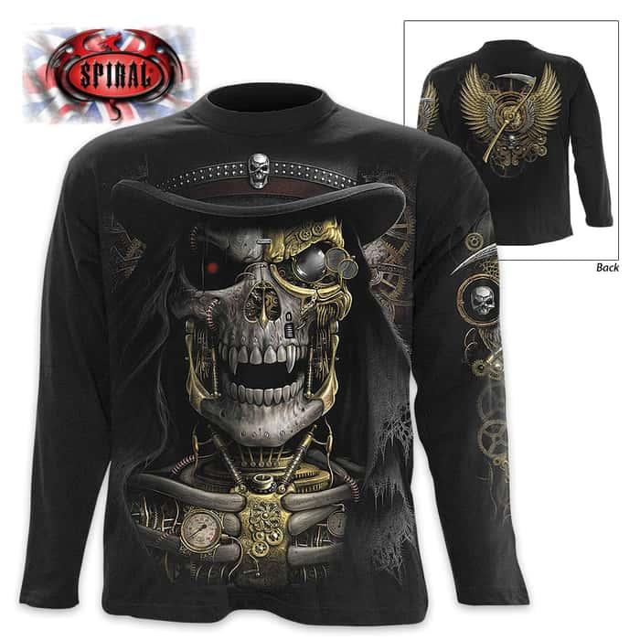 Black Steam Punk Reaper Wrap - Allover T-Shirt Long-Sleeve