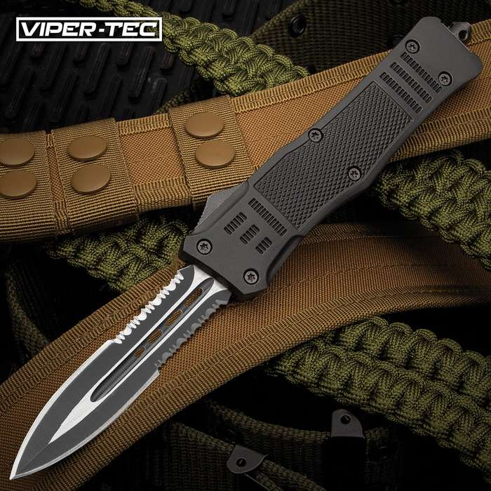 "Viper-Tec Phantom Series OTF Partial Serrated Pocket Knife - Stainless Steel Blade, Metal Alloy Handle, Pocket Clip - Length 9 2/5"""