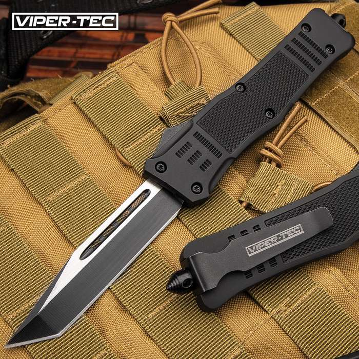 "Phantom Series Black OTF Tanto Knife - Stainless Steel Blade, Two-Tone Finish, Metal Alloy Handle, Pocket Clip - Length 9 2/5"""