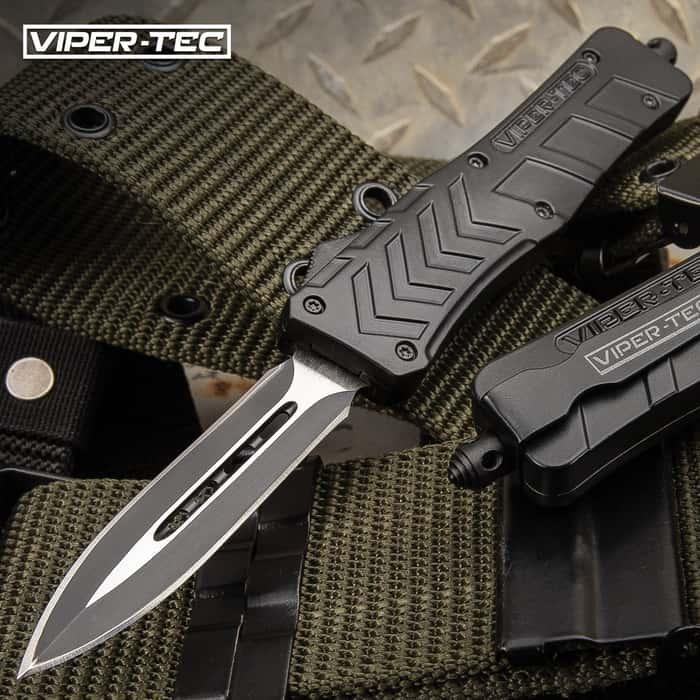 "Medium VF-1 Series Black Double Edge OTF Knife - Stainless Steel Blade, Metal Alloy Handle, Pocket Clip - Length 7 3/4"""