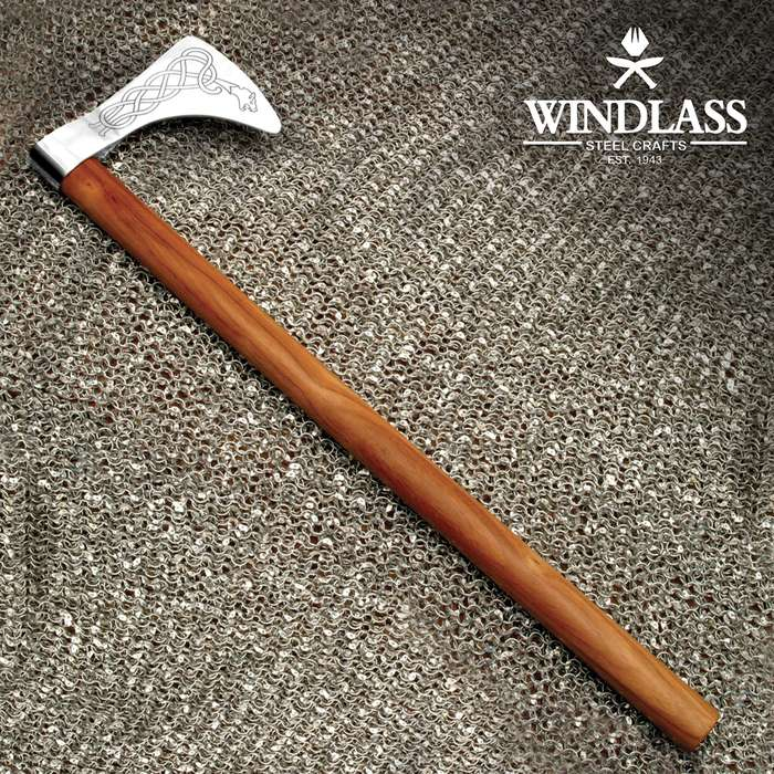 The Dragon Viking Axe is the perfect size for one handed combat in conjunction with a shield