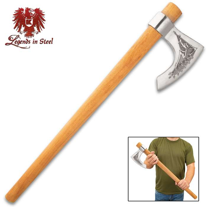 """Legends In Steel Etched Viking Display Axe - Hand-Forged High Carbon Steel, False-Edged, Etched Designs, Beech Wood Handle - Length 27"""""""