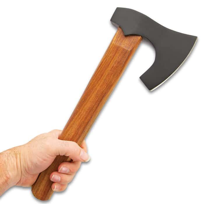 "Viking Bearded-Design Throwing Hatchet - Axe, Hand-Forged, Stainless Steel Axe Head, Hardwood Handle - Length 12 1/2"""