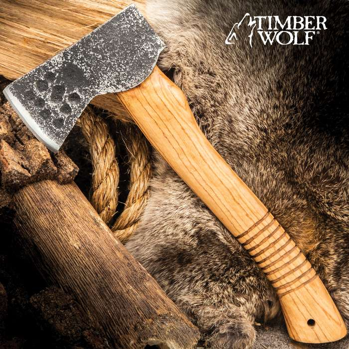 """Timber Wolf Forged Carbon Bushcraft Axe - Carbon Steel Head, Rough-Forged, Wooden Handle - Length 11"""""""