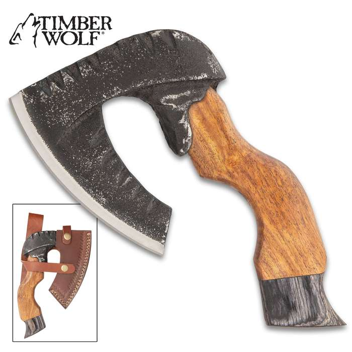 """Timber Wolf Rough Beard Axe With Sheath - Rough-Forged Carbon Steel Head, Natural Wood Handle - Length 8"""""""