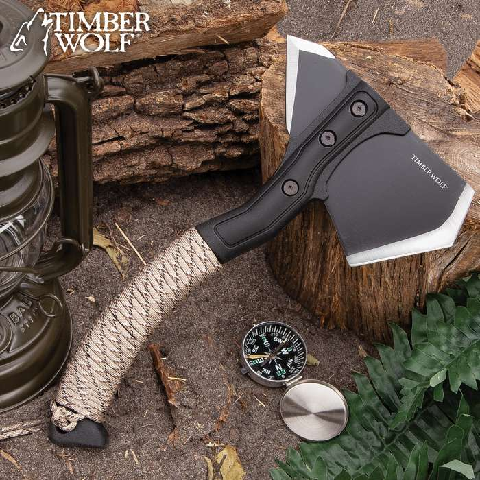 """Timber Wolf Survival Axe With Sheath - Stainless Steel Head, Non-Reflective Coating, Paracord Wrapped ABS Handle - Length 11 1/4"""""""