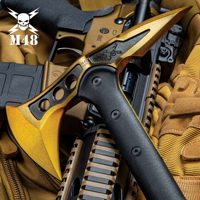 """M48 Gold Tactical Tomahawk Axe With Snap On M48 Sheath - Hawk Axe, Cast Stainless Steel Blade, Fiberglass Handle - Length 15"""""""
