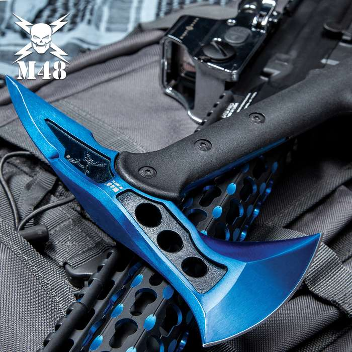"""M48 Blue Tactical Tomahawk Axe With Snap On M48 Sheath - Hawk Axe, Stainless Steel Blade, Fiberglass Handle - Length 15"""""""
