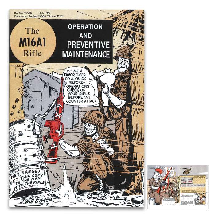 """Vietnam Comic Book M16 Rifle Instructions - Full Color Illustrations, 30 Pages, Operation And Maintenance Guide - Dimensions 5""""x 7"""""""