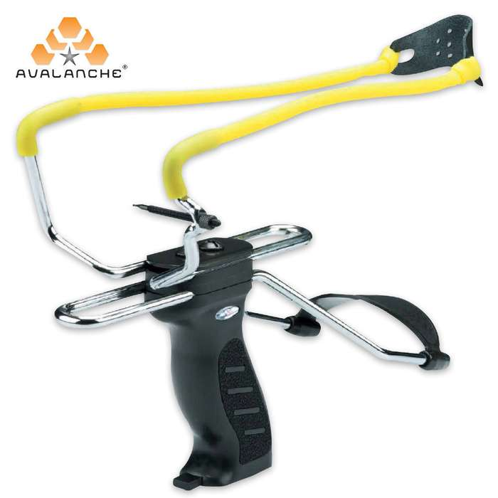 Slingshot Black Handle Yellow Rubber Band