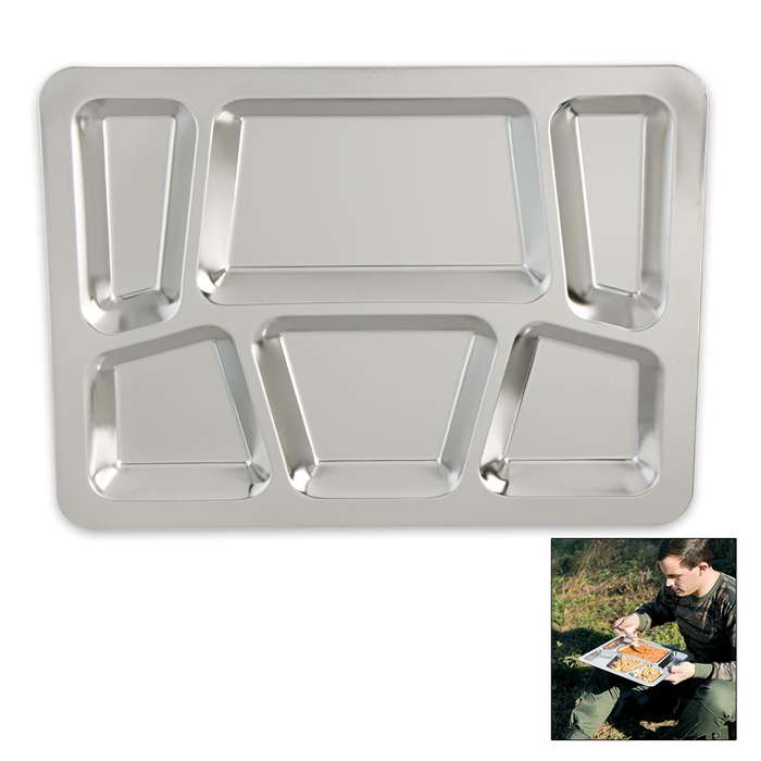 Military Surplus Stainless Steel Dining Tray