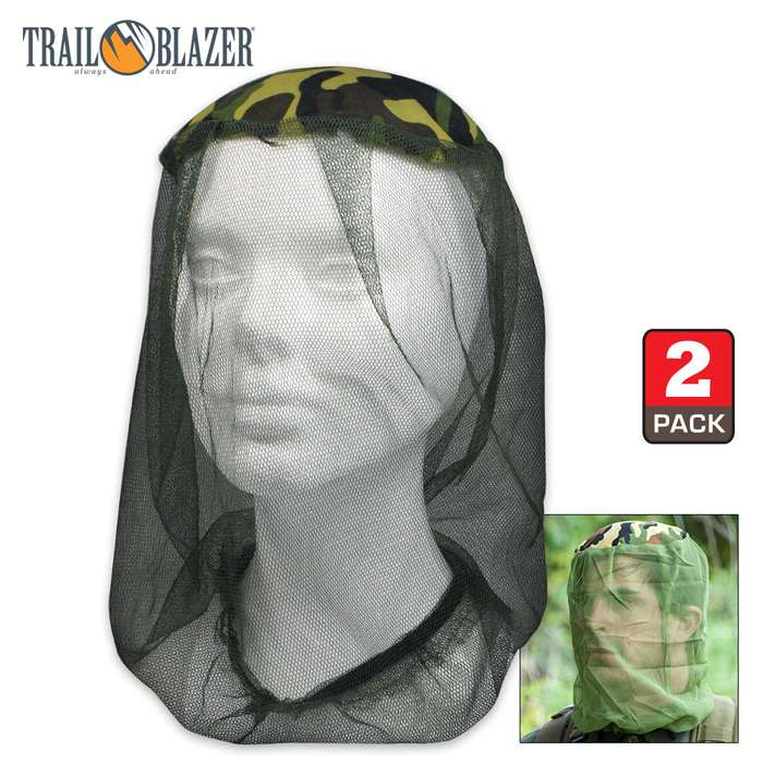 Anti-Zika Mosquito Head-Net and Face Mask - Lightweight With Camouflage Pattern - Pack Of Two
