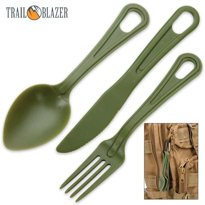 Trailblazer 3-Piece Lexan Outdoor Dining Utensil Set on Carabiner - Army Green