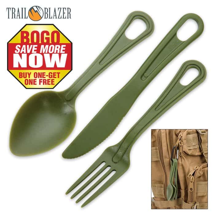 Trailblazer 3-Piece Lexan Outdoor Dining Utensil Set on Carabiner - Army Green - BOGO