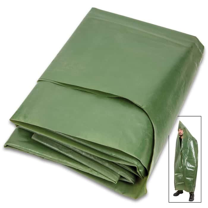 NVA Olive Drab Rain Cape With Hood - Like New Military Surplus, Rain Poncho, Waterproof PVC Construction, Plastic Fasteners