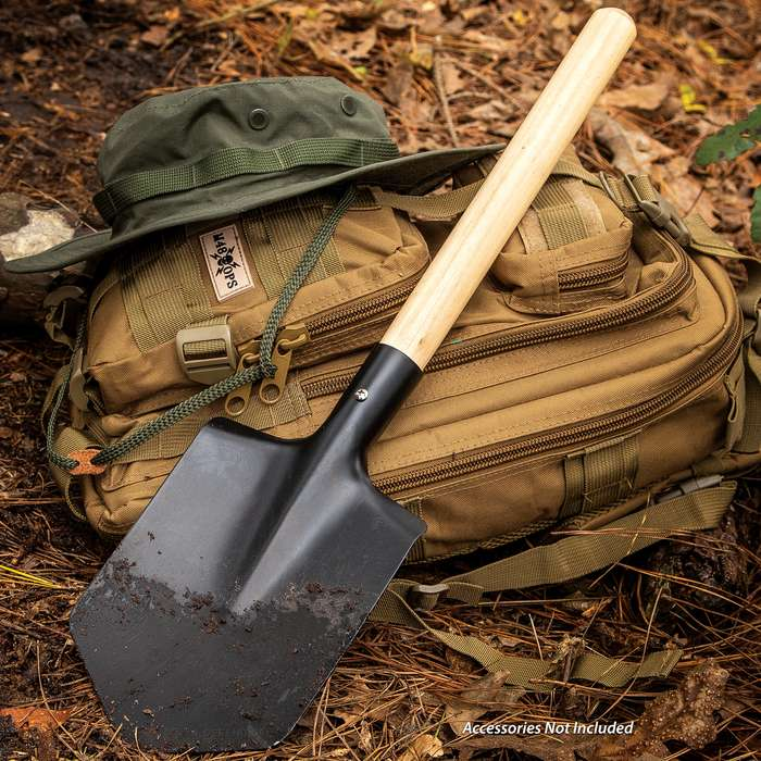 """Delta Defender High Strength Carbon Steel Shovel, Rounded Wooden Handle, Compact - Length 21 1/2"""""""