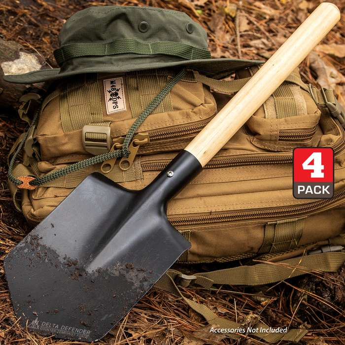 "Delta Defender High Strength Carbon Steel Shovel, Rounded Wooden Handle, Compact - Length 21 1/2"" - Four Pack"
