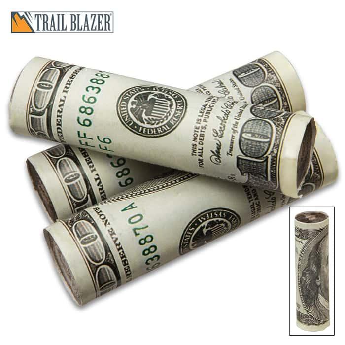 "Trailblazer Money Fire Starter - Three Pack, Faux Hundred Dollar Bills, Wax-Coated, Slow-Burning - Dimensions 1""x 4"""