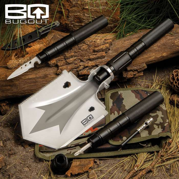 The BugOut Small Multi-Function Folding Entrenchment Tool has functions and features you need in your camping gear, vehicle emergency bag and bugout bag
