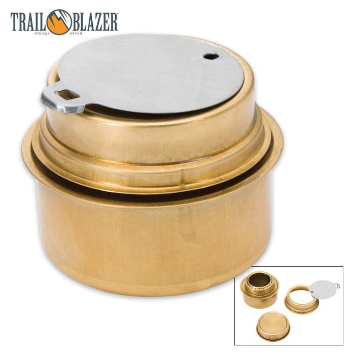 Trailblazer Brass Alcohol Burner With Screw-On Lid