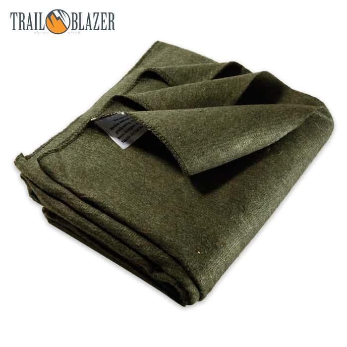 "Trailblazer 64"" x 84"" Wool Blanket - Olive Green"