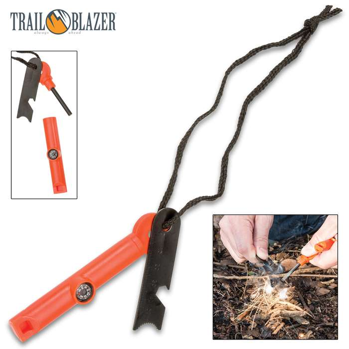 Trailblazer Multifunctional Fire Starter / Flint and Striker Tool