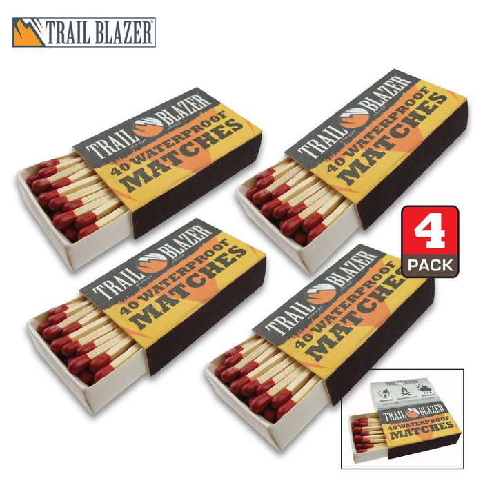 Trailblazer Waterproof Matches - Four-Pack