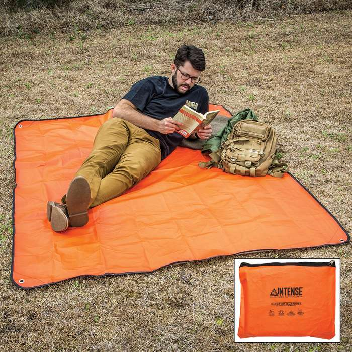 Intense Sport Utility Orange Blanket With Bag - Aluminum And Nylon Construction, Weatherproof, Grommets - Dimensions 5'x7'
