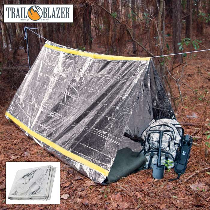 Trailblazer Emergency Rescue Tent - Instant Shelter / Protection from Weather, Other Dangerous Conditions - Lightweight, Durable, Compact - Includes 20' Cord - Fits 2+ Persons - 8' x 5'