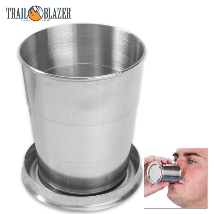 Trailblazer Stainless Steel Collapsible Cup - Two-Pack, Compact Design, Has Key Ring Attachment - 5 Oz