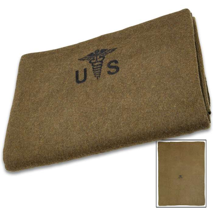 """Reproduction US Army Medic Wool Blanket - 80 Percent Wool Construction, Printed Logo - Dimensions 64""""x 84"""""""