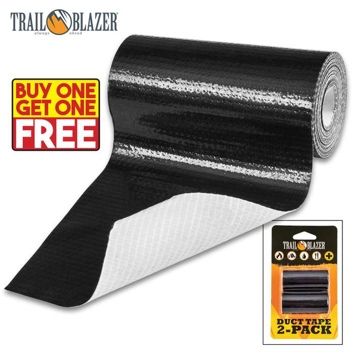 SHTF Trailblazer Two-Pack Black Duct Tape - Strong Adhesive, Durable, Waterproof, Tears Easy, Lightweight - BOGO