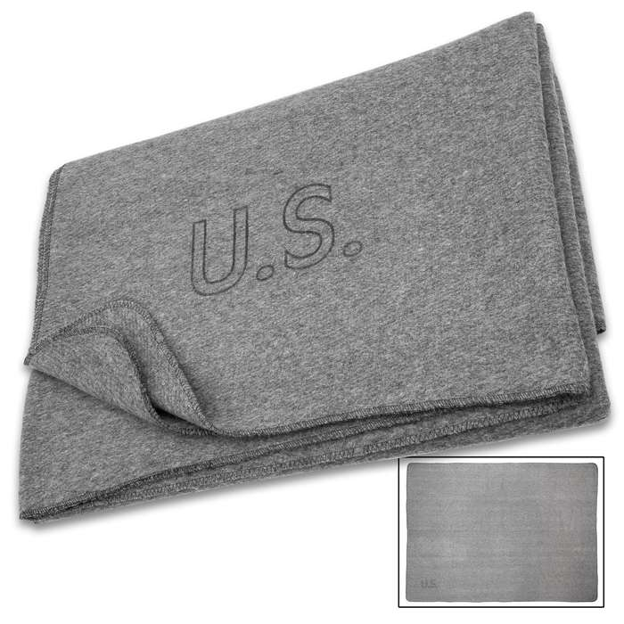 """Reproduction US Military Medic Grey Wool Blanket - 80 Percent Wool Construction, Printed Logo - Dimensions 64""""x 84"""""""