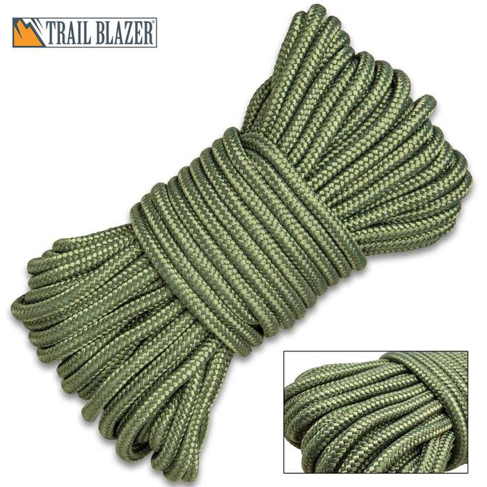 "Trailblazer Utility Rope - Braided Polypropylene, Mildew And Rot Resistant, 1/4"" Diameter - Length 65 1/2'"