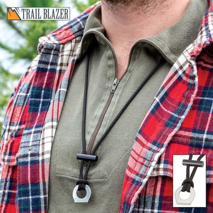 "Trailblazer Firestarter Necklace - Paracord Construction, Stainless Steel Fire Striker, Ferro Rod - Length Adjusts Up To 19"""