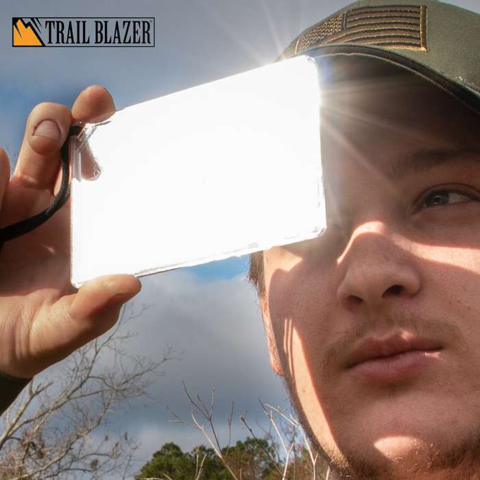 Trailblazer Multi-Functional Signal Mirror - Virtually Unbreakable, Emergency Whistle, Compass, Ruler, Lanyard