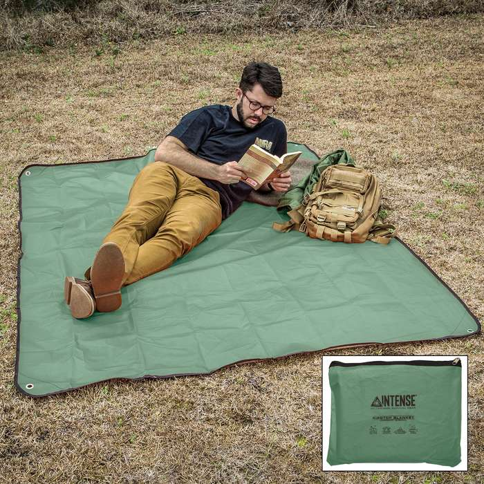 Intense Sport Utility Olive Drab Blanket With Bag - Aluminum And Nylon Construction, Weatherproof, Grommets - Dimensions 5'x7'