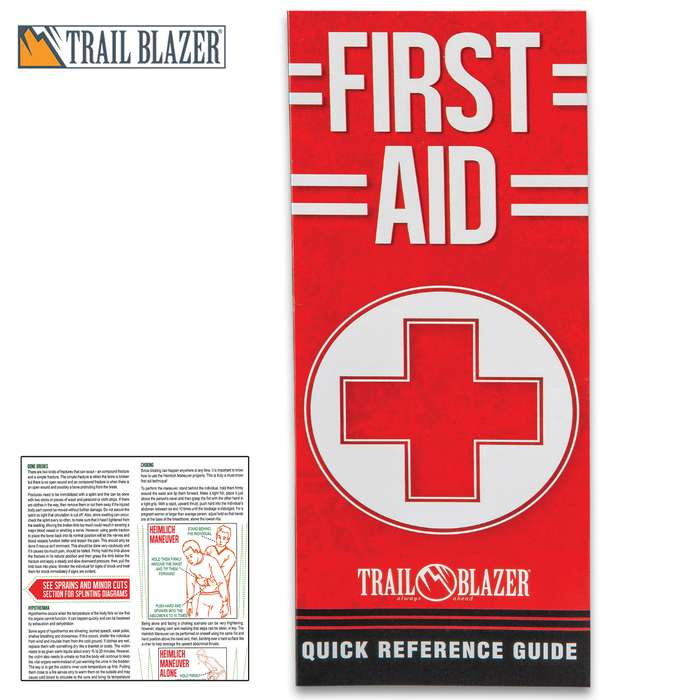 Trailblazer First Aid Quick Reference Guide - Compact Folding Guide, Laminated, Detailed Illustrations, Easy-To-Follow Instructions