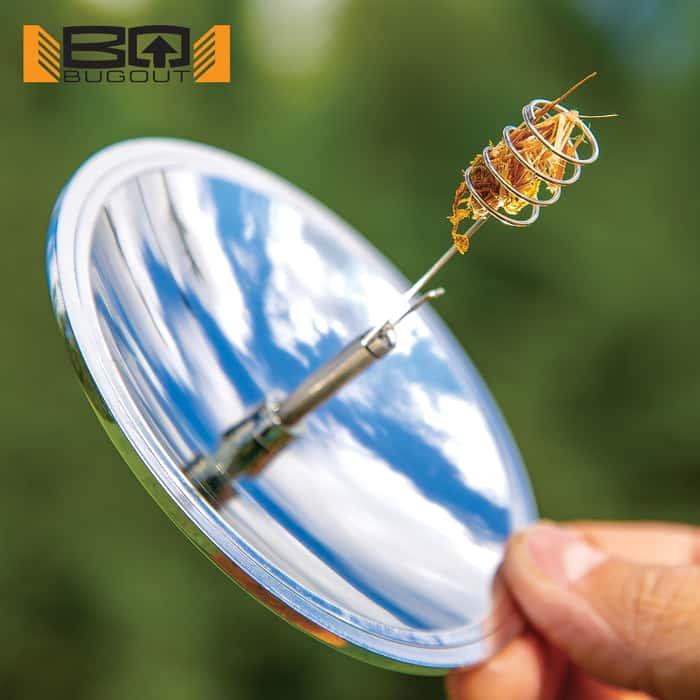 "BugOut Solar-Powered Lighter - Super Reflective TPU, Compact, Adjustable Tinder/Cigarette Holder - 4"" Diameter"