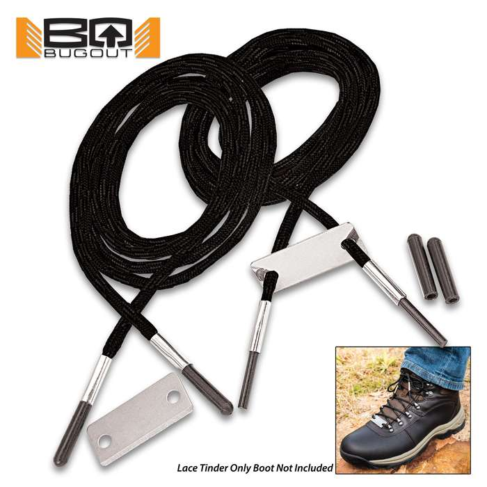 """BugOut Black Bootlaces With Flint And Striker - One Pair Of Laces, Nylon Construction, Protective Rubber Tips - Length Of Lace 55"""""""