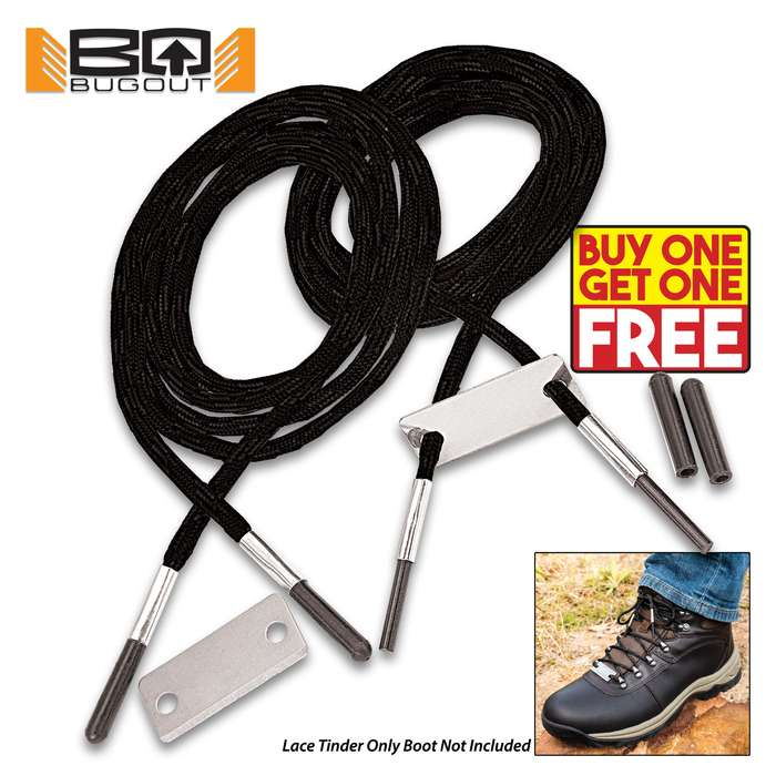 """BugOut Black Bootlaces With Flint And Striker - One Pair Of Laces, Nylon Construction, Protective Rubber Tips - Length Of Lace 55"""" - BOGO"""