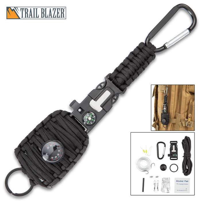 """Trailblazer Paracord Fishing Kit With Carabiner - Integrated Compass, Emergency Whistle, Key Ring, Flint And Striker, Thermometer - Length 9 1/4"""""""